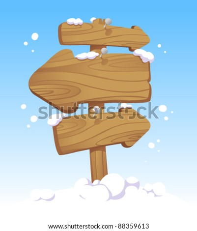 Wooden pointer board against of a winter landscape. Christmas illustration. - stock vector