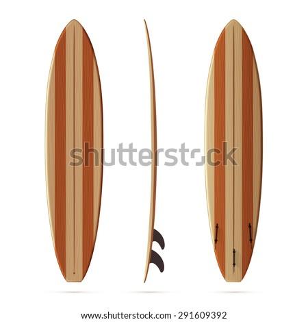 Wooden retro vector malibu surfing board - stock vector