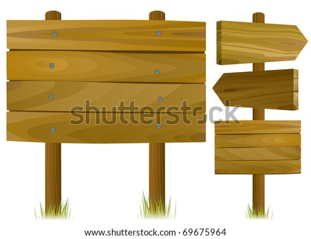 wooden road signs - stock vector