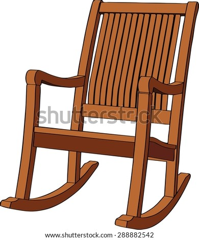 Wooden rocking armchair on white background. Vector illustration - stock vector