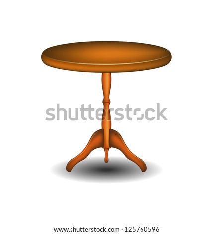 Wooden round table - stock vector