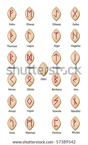 Wooden runes - stock vector