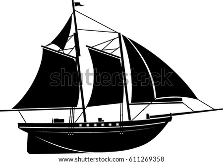 wooden sailboat silhouette stock vector hd (royalty free) 611269358
