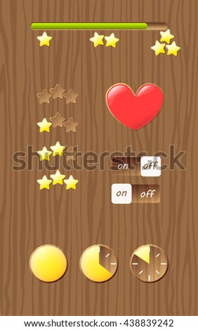 Wooden screen template with gui elements, progress bar. Design for mobile game, web - stock vector