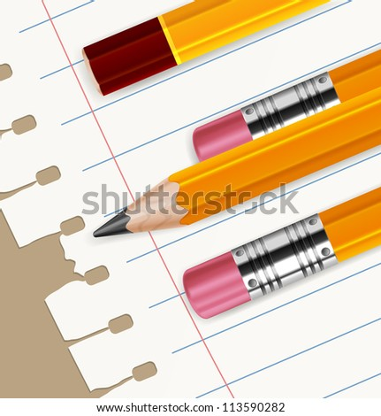 Wooden sharp pencils and white paper sheet in line isolated, vector illustration
