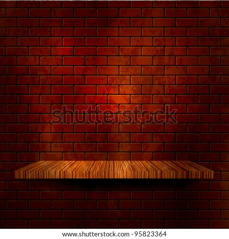 Wooden shelf with brick wall. Vector illustration