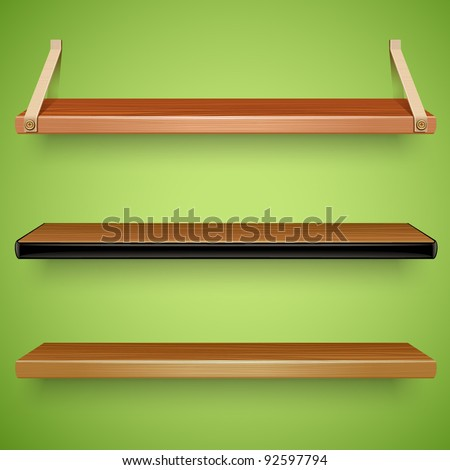 wooden shelves - stock vector