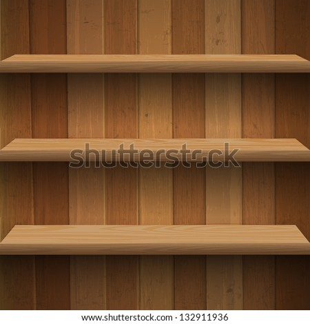 Wooden shelves. Vector eps10 - stock vector