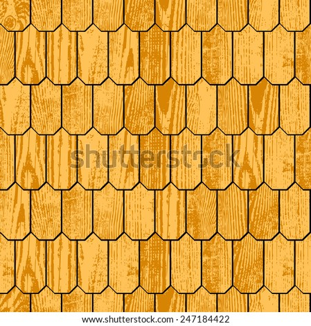 Wooden shingle grunge roof, seamless background