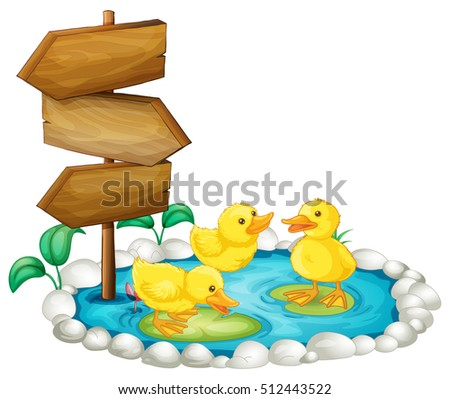 wooden sign ducks pond illustration stock photo photo vector rh shutterstock com