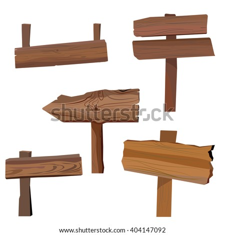 Wooden sign board collections isolated on white. Wood old road planks set. Vector eps10 - stock vector