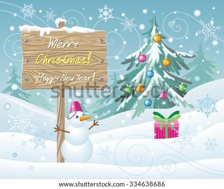 Wooden sign Merry Christmas and Happy New Year.  Xmas celebration, winter season, greeting message, board and snowflake, snow and landscape, snowfall and nature illustration - stock vector