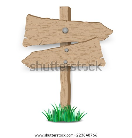 Wooden sign on grass.vector illustration - stock vector