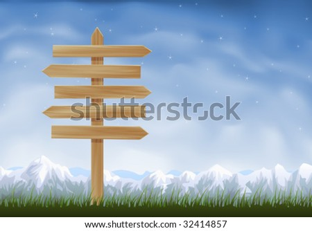 Wooden sign post with arrows pointing to opposite directions