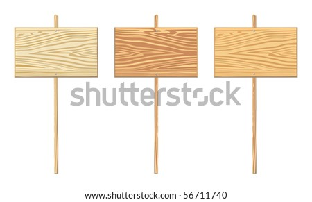 Wooden sign with different toning - stock vector