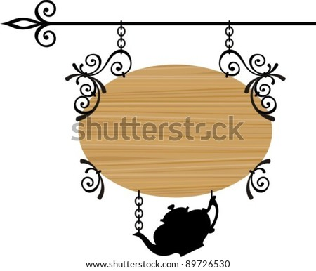 Wooden sign with place for text, vector illustration - stock vector
