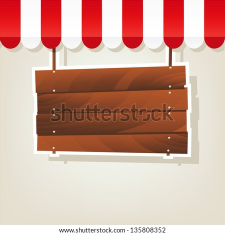 wooden signboard - stock vector