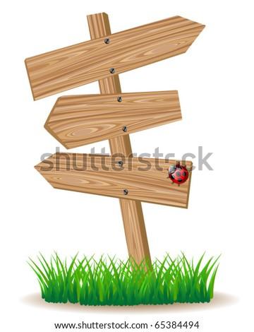 wooden signboard - stock vector
