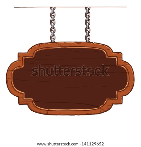 wooden signboard on the metal chains - stock vector