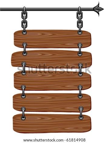 Wooden signboard. Vector - stock vector
