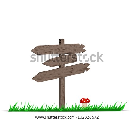 wooden signboard with grass and mushroom. EPS 8
