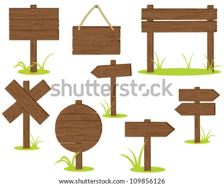 Wooden signposts over white background - stock vector