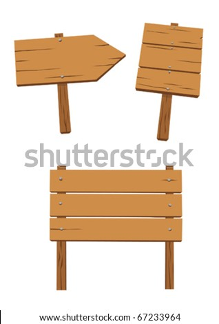 wooden signs - stock vector