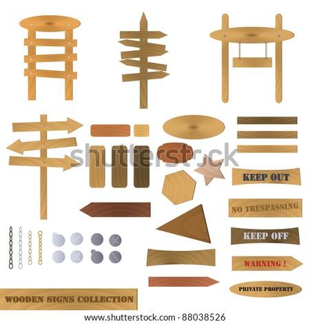 Wooden Signs Illustration - stock vector