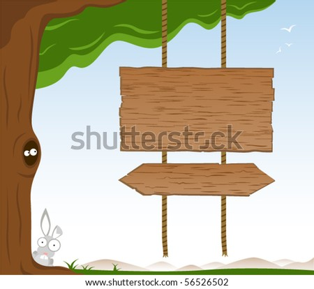 Wooden Signs On Tree - Vector - stock vector