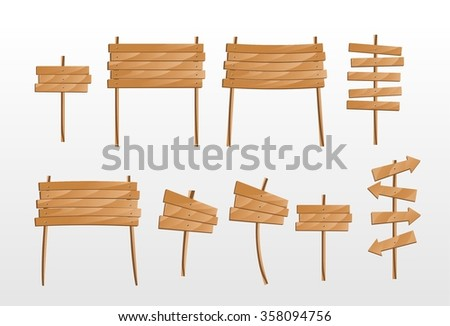 Wooden signs set - stock vector