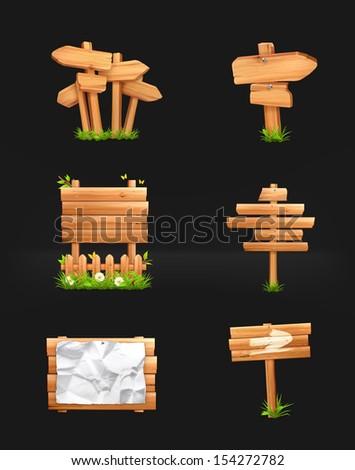 Wooden signs set, vector on black - stock vector