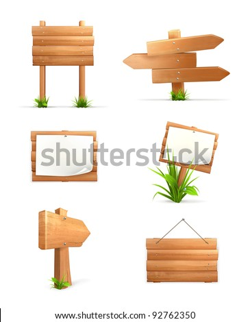 Wooden signs, vector icon set  - stock vector