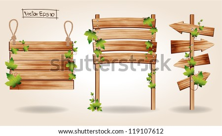 Wooden signs with green leaves decorative elements, Vector illustration - stock vector