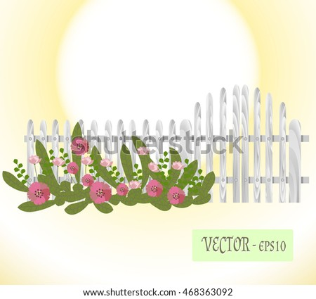 Wooden Silvery Picket Fence. Wooden silvery gate and fence with summer flowers. Solar circle background.
