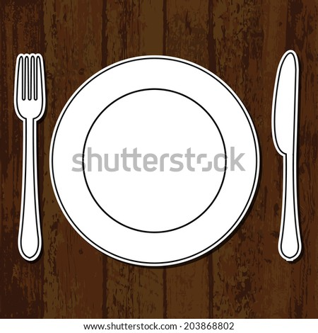 Wooden table background with plate, fork and knife - stock vector