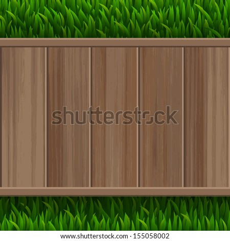 Wooden terrace floor on green grass background - Vector illustration