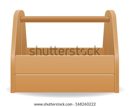 wooden tool box vector illustration isolated on white background - stock vector