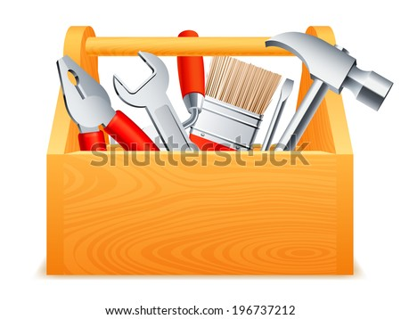 Wooden toolbox full of tools. - stock vector