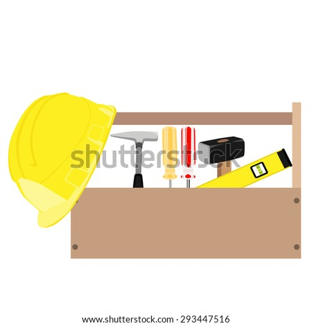 Wooden toolbox with handle. Vector illustration of  orange and red screwdriver, sledge hammer, helmet, hammer and level tool inside toolbox - stock vector