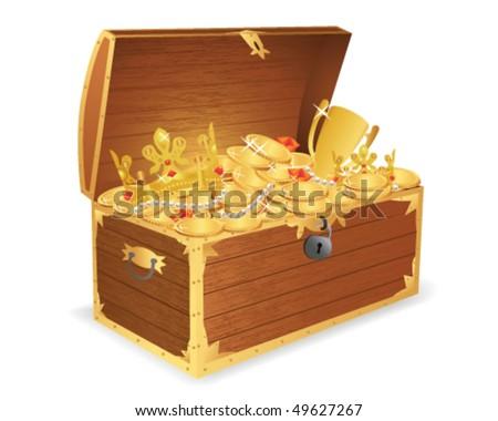 Wooden treasure chest - stock vector