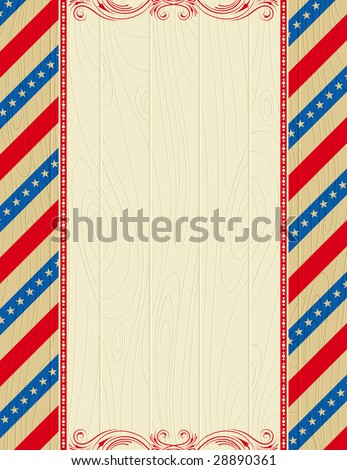 wooden usa background with stars and  decorative frames - stock vector