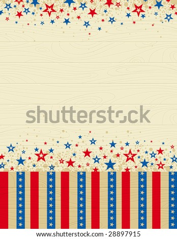 wooden usa background with stars, vector illustration - stock vector