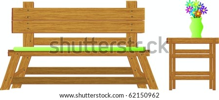 Wooden vector bench and side table plus see gallery for matching furniture - stock vector