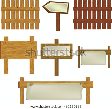 Wooden vector signs,arrow,fences with copy space - stock vector