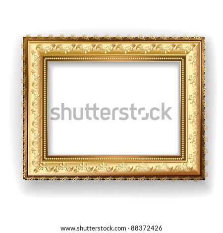 Wooden vintage gold frame - stock vector