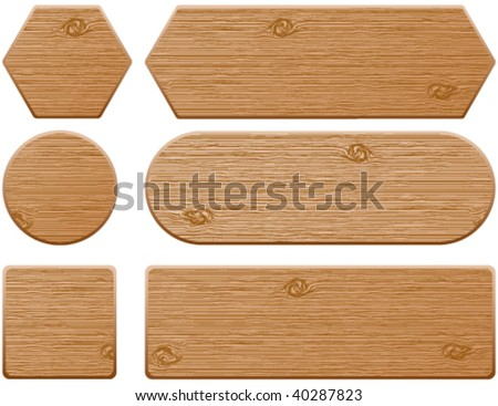 Wooden web buttons and banners - stock vector