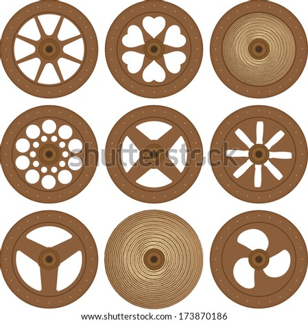 Wooden wheels - stock vector