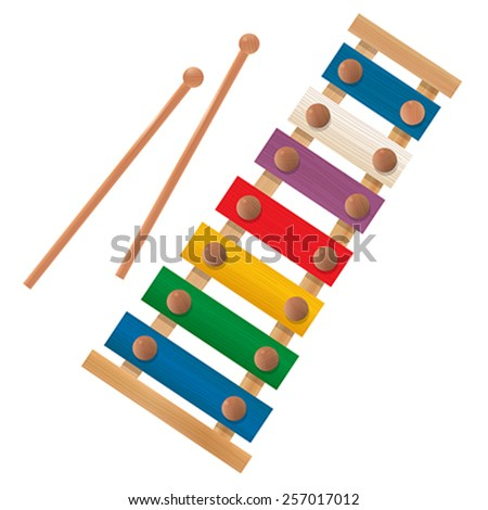 Wooden xylophone icon over white background - stock vector