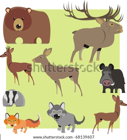 Woodland animal cartoons isolated on light green background color vector illustration - stock vector