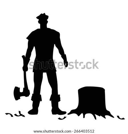 Woodman with Axe Vector Silhouette - stock vector